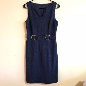 David Meister Navy Blue Dress w Gold Embellishment